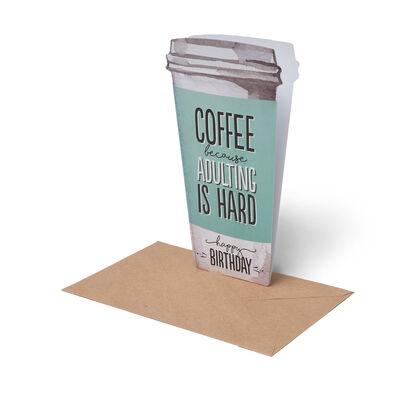 Greeting Card - Happy Birthday - Coffee
