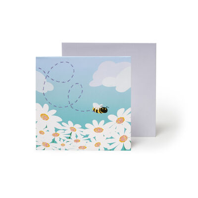 Small Pop Up Greeting Card - Bees & Daisies