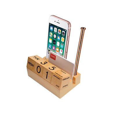 Wooden Calendar And Pen Holder