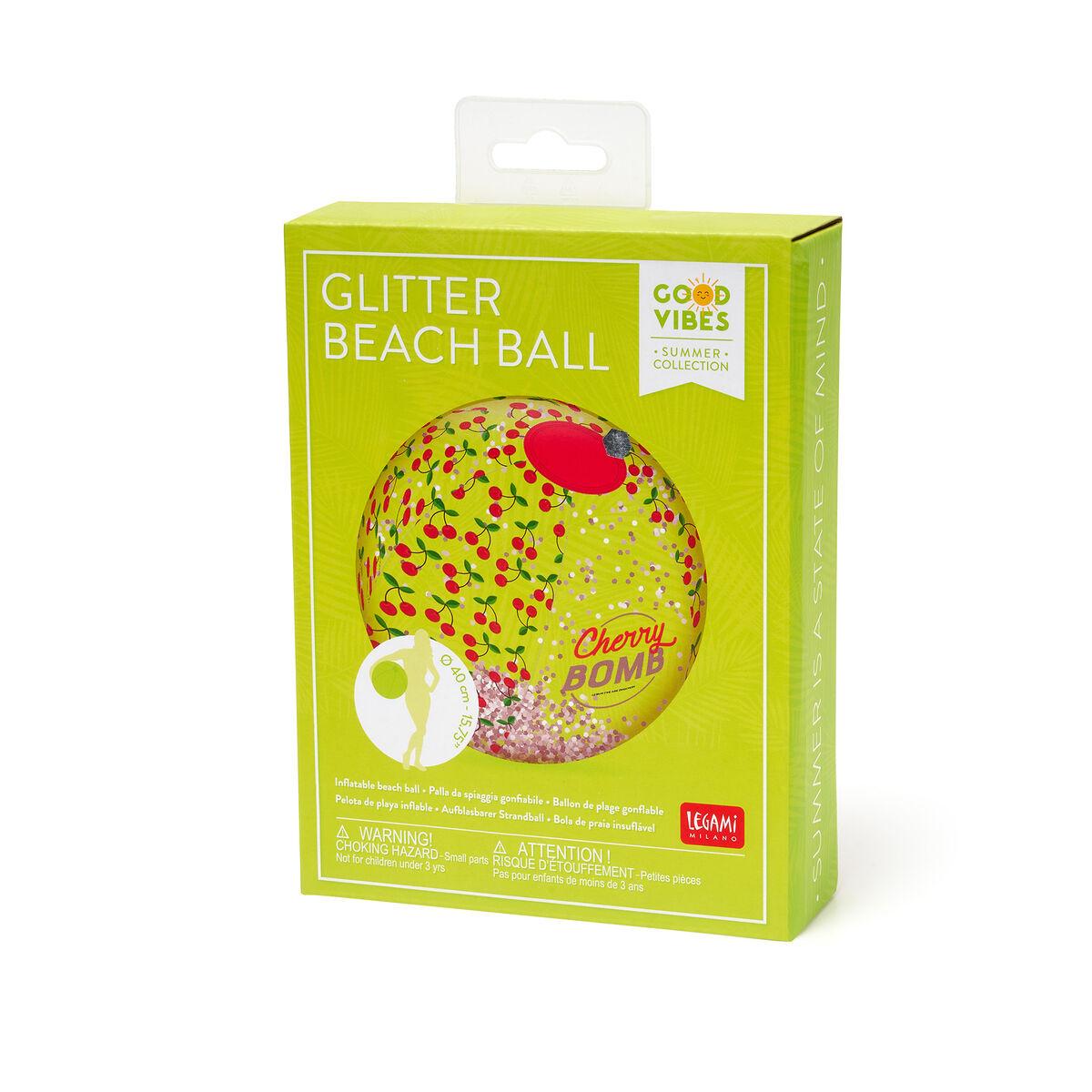 Palla da Spiaggia Gonfiabile con glitter, , zoo