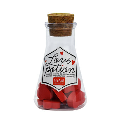 Love Potion - Set Of 18 Heart-Shaped Erasers