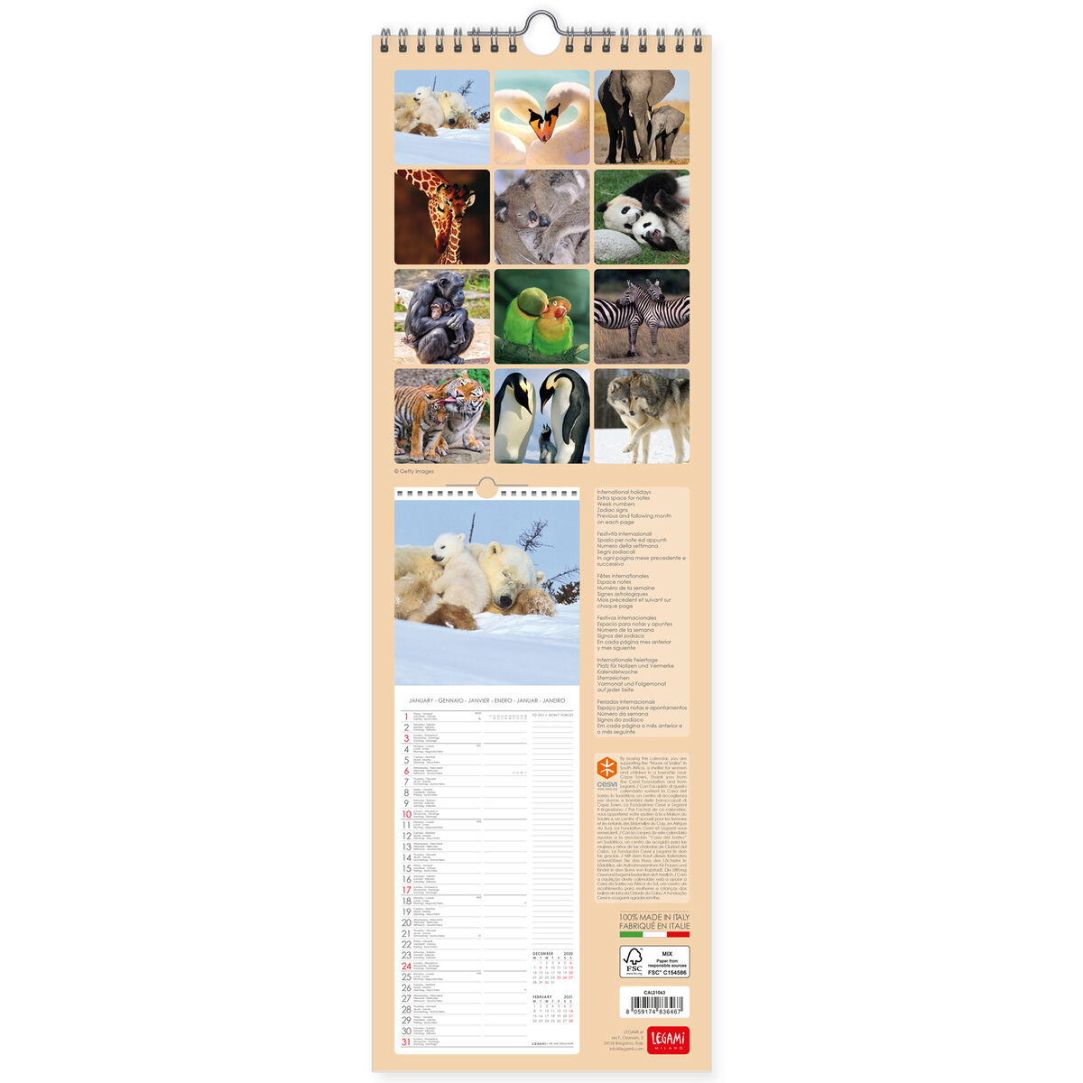 Wall Calendar 2021   16x49 Cm ANIMALS IN LOVE | Legami.com