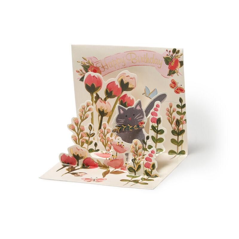 Small Pop Up Greeting Card - Botanical Cat, , zoo
