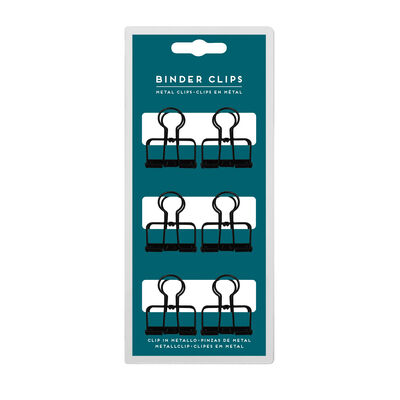 Binder Clips - Set Of 6 Metal Clips