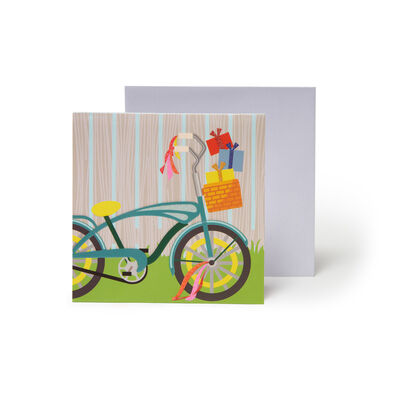 Small Pop Up Greeting Card - Cat & Cake Bike Ride