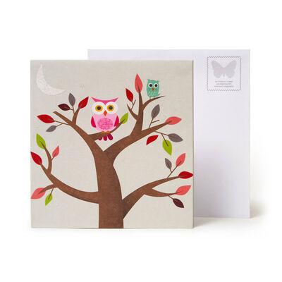 Biglietto Pop Up Large - Owl Tree