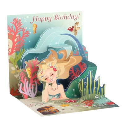 Small Pop Up Greeting Card -  Mermaid