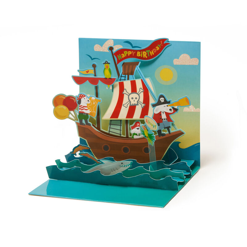 Large Greeting Card Pop Up - Dog Pirates, , zoo
