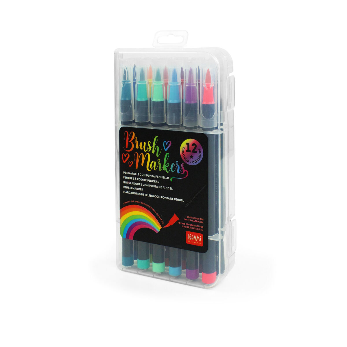 Set of 12 Brush Markers, , zoo