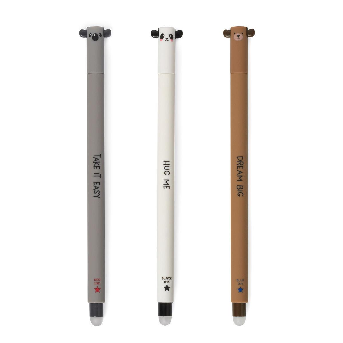 Set of 3 Erasable Pens, , zoo