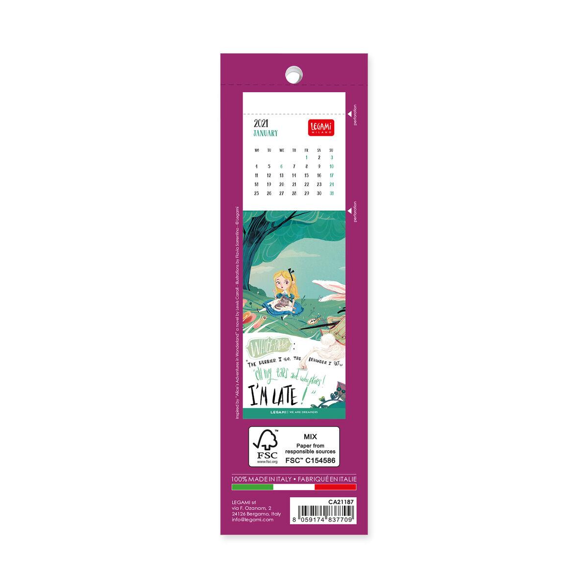Bookmark Calendar 2021 - 5,5x18 Cm, , zoo