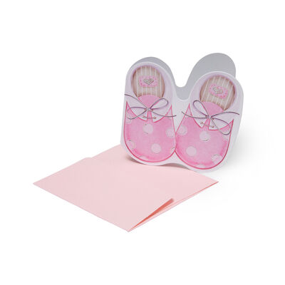 Greeting Cards - Congratulations - 7X7 Baby Shoes Girl