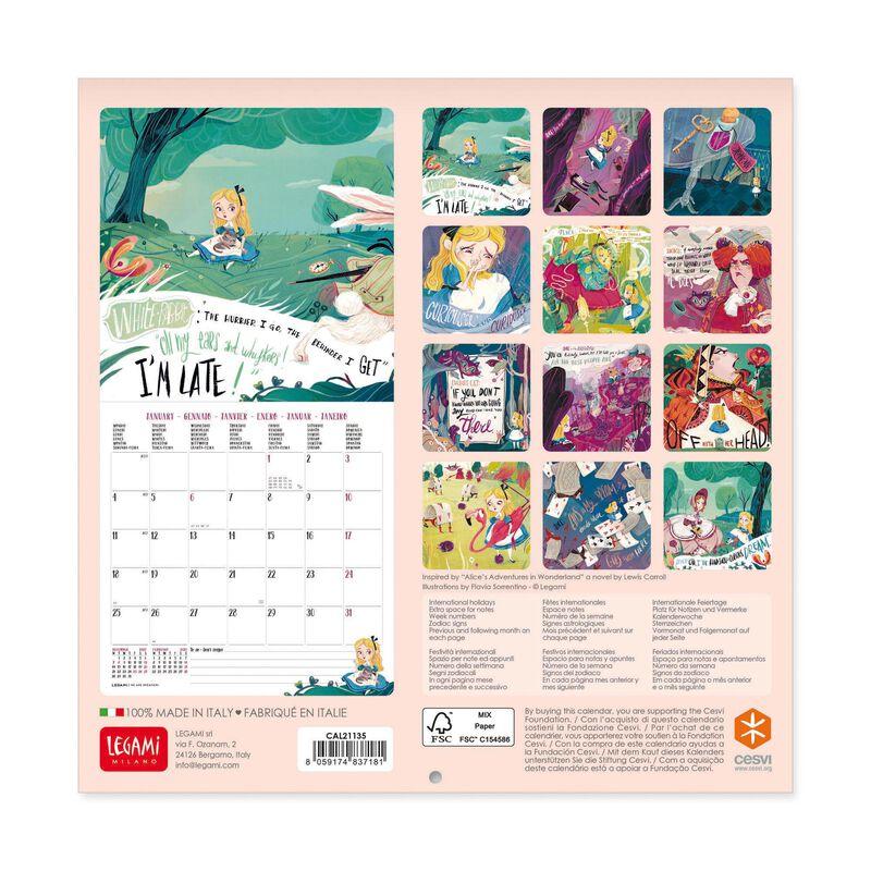 Wall Calendar 2021   18x18 Cm ALICE IN WONDERLAND | Legami.com