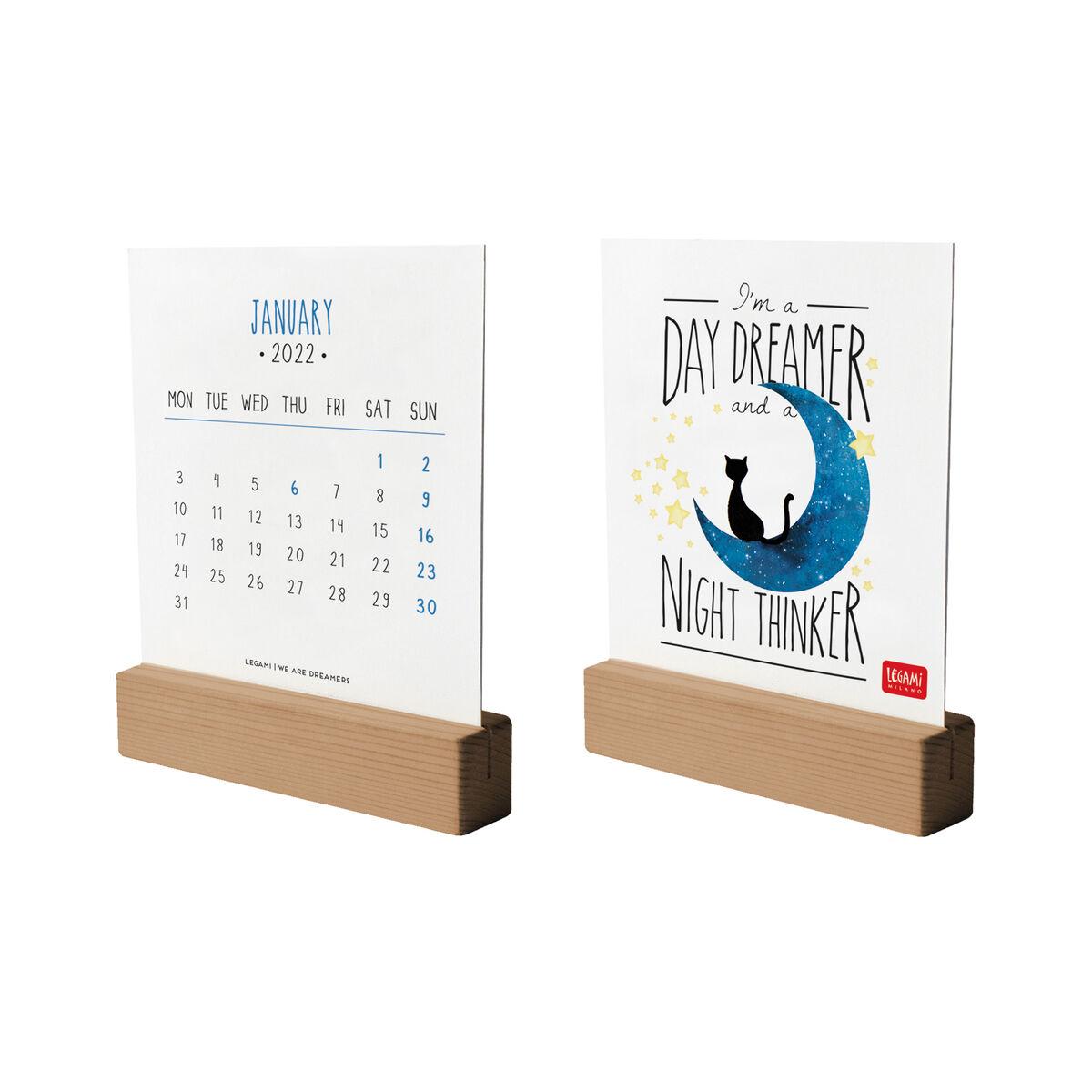 Calendar With Wooden Base 2022 - 10.5 X 13 Cm, , zoo