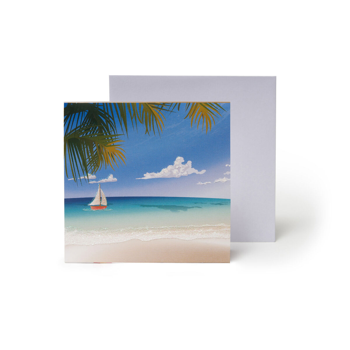 Small Pop Up Greeting Card - Tropical Beach Chairs, , zoo