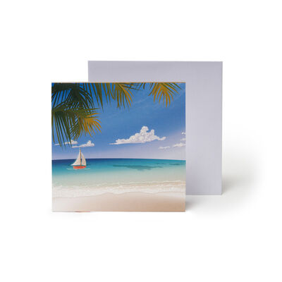 Small Pop Up Greeting Card - Tropical Beach Chairs