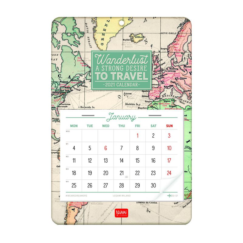 13 Month Wall Calendar   2021 MAP | Legami.com
