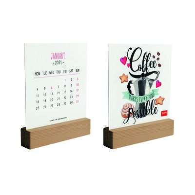 Calendar with wooden base - 2021