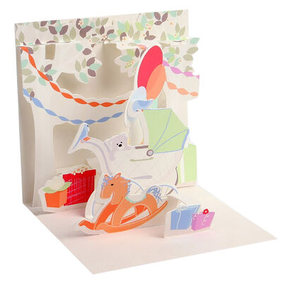 Small Pop Up Greeting Card -  Pram