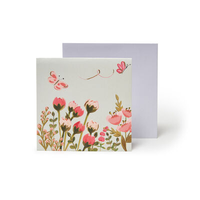 Small Pop Up Greeting Card - Botanical Cat