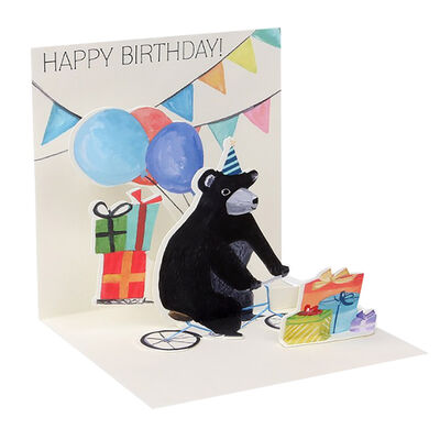 Small Pop Up Greeting Card - Bicycle Bear