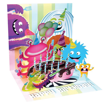 Large Pop Up Greeting Card - Birthday Monsters
