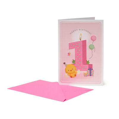 GREETING CARD - HAPPY BIRTHDAY - LITTLE GIRLS - 1 YEAR