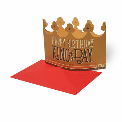 3D Greeting Card - Happy Birthday - King Crown