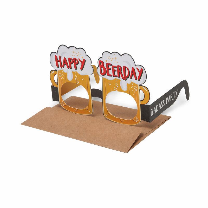 Biglietto di Auguri di Compleanno - Occhiali Birra, , zoo