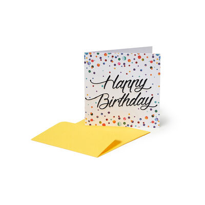 GREETING CARDS - BIRTHDAY - 7X7 WATERCOLOR DOTS