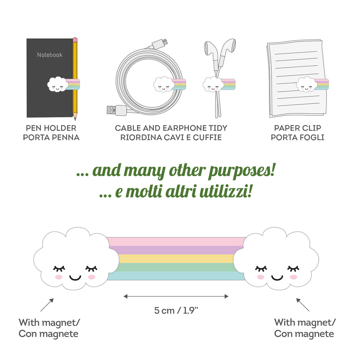 Magnetic Clip - Rainbow, , zoo
